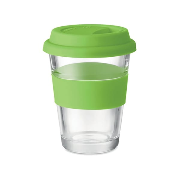 Glass tumbler with silicone lid and grip