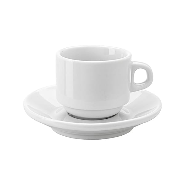 Stackable porcelain cup and saucer 100ml