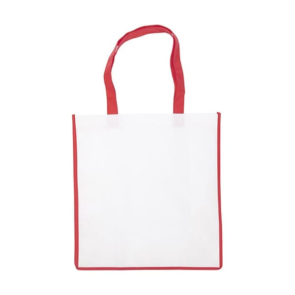 Nonwoven bag with coloured trim