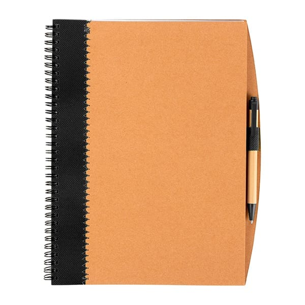 Recycled cardboard notebook with pen