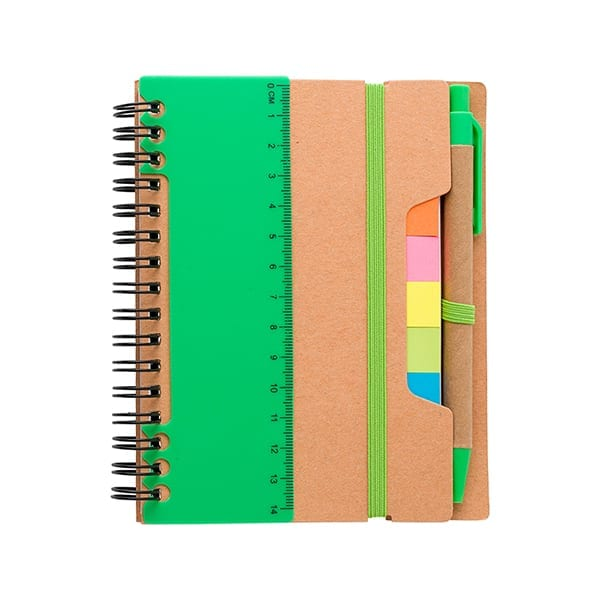 Recycled paper notebook with sticky notes, ruler and a ballpen