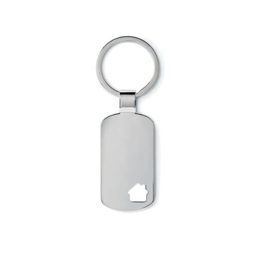 Metal keyring with house detail
