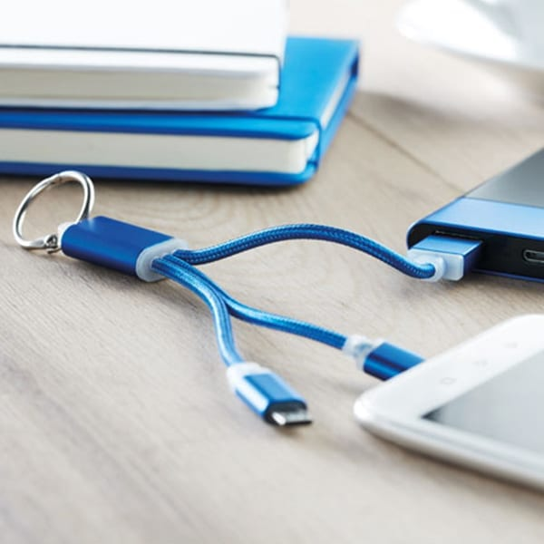 Key ring with charging cable