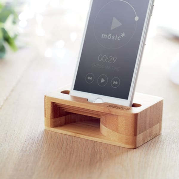 Smartphone stand and amplifier in bamboo