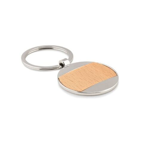 Round metal and wooden keyring