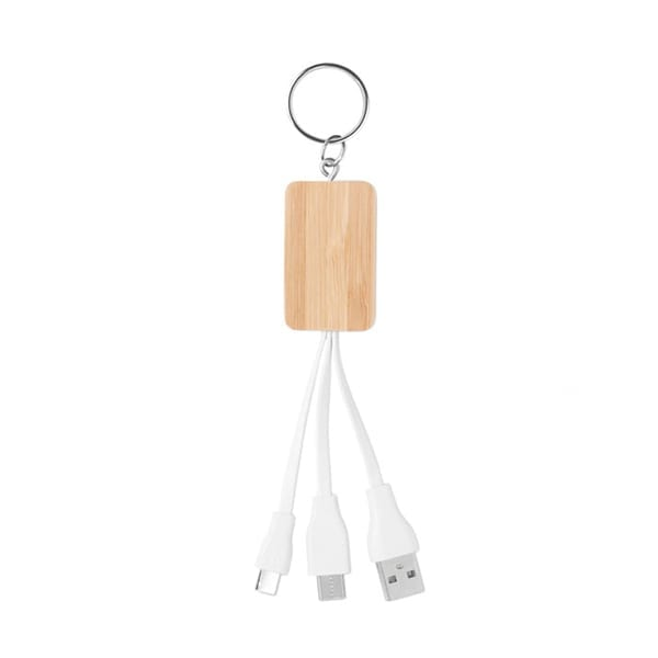 Bamboo cover key ring with charging cable