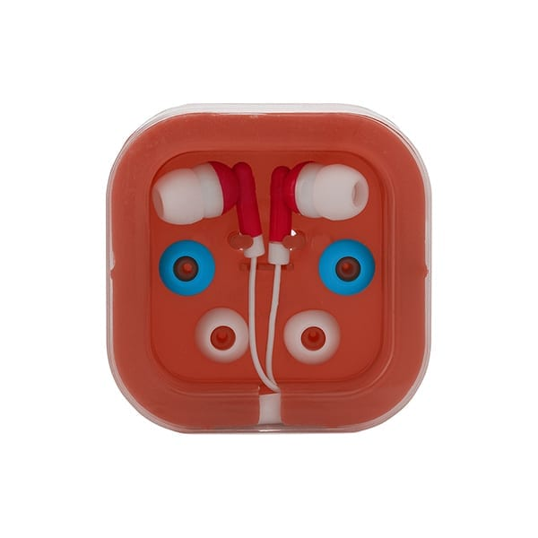 Earphones with sets of buds and case