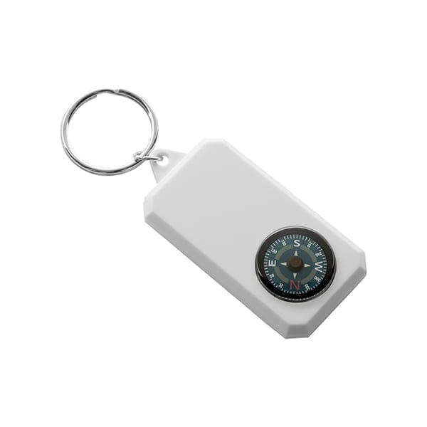 Plastic keyring with compass