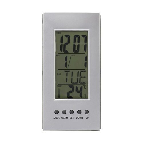 Desk clock with thermometer