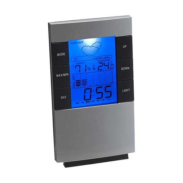 Desk or wall weather station with clock