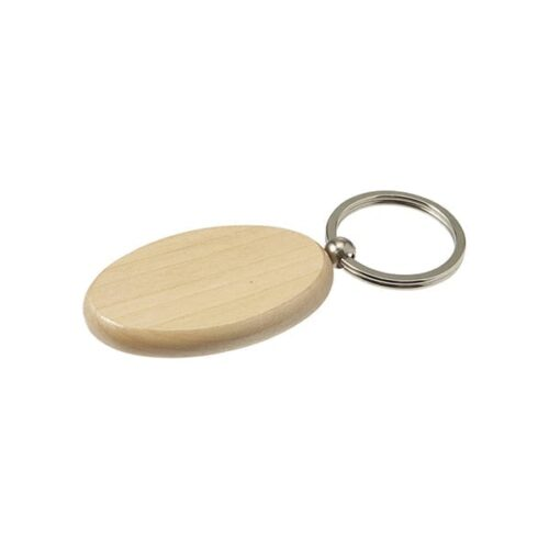 Oval wooden keyring