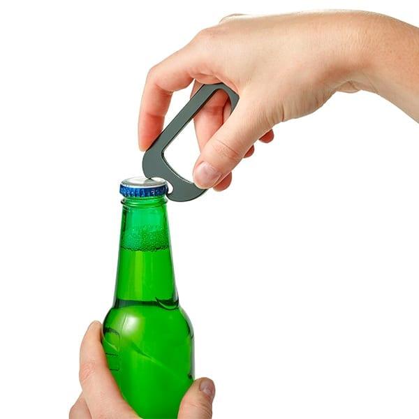 Metal carabiner bottle opener