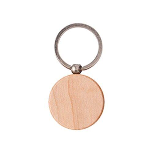 Round wooden keyring
