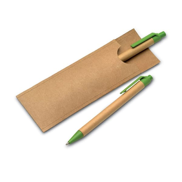Paper pen set in a recycled paper pouch