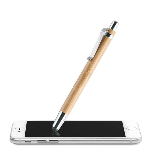 Push button ballpen in bamboo with stylus and shiny chrome fitting. Blue ink.