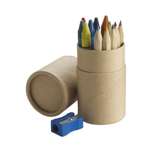 pencil and crayon set with sharpener