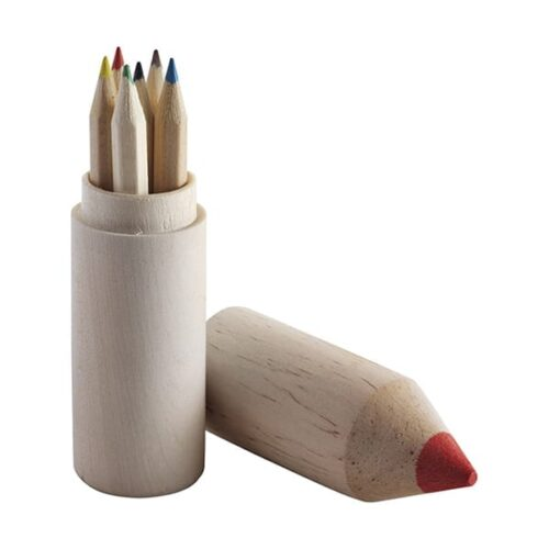 Pencil holder with six coloured pencils