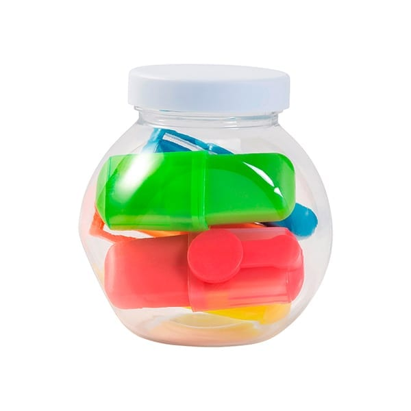 Jar with five highlighters