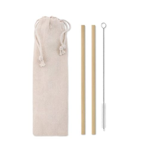 Set of 2 bamboo straws with brush in cotton pouch
