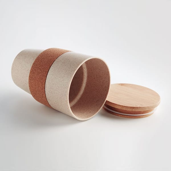 Travel mug in PLA corn, wheat straw and Bamboo