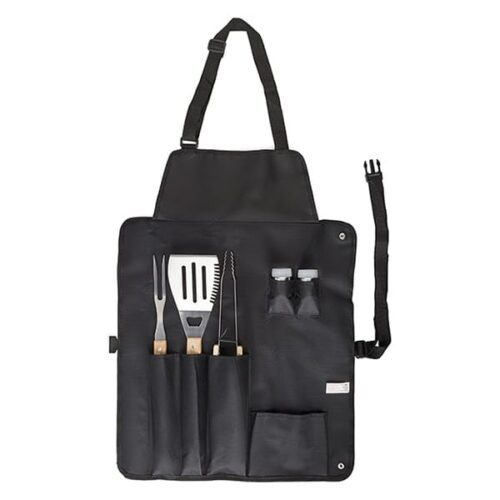 Stainless steel barbecue set with apron