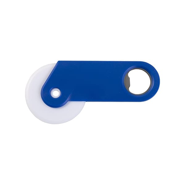 Plastic pizza cutter and bottle opener