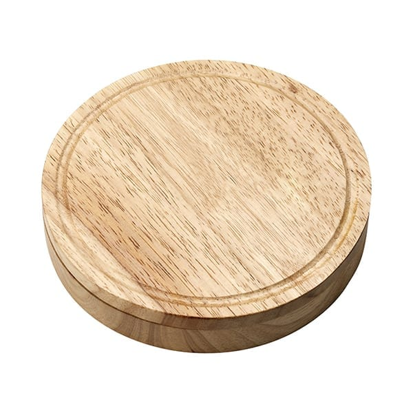 Wooden cheese set with cheese knife and fork