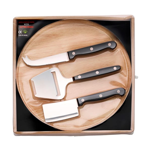 Wooden cheese board with 3 stainless steel knives