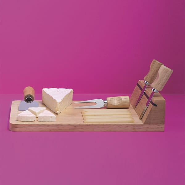 Wooden cheese board with five accessories