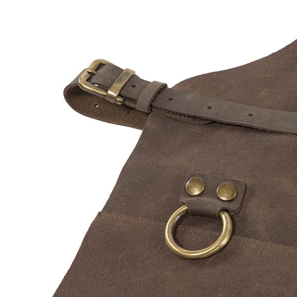 Split leather apron with front pocket