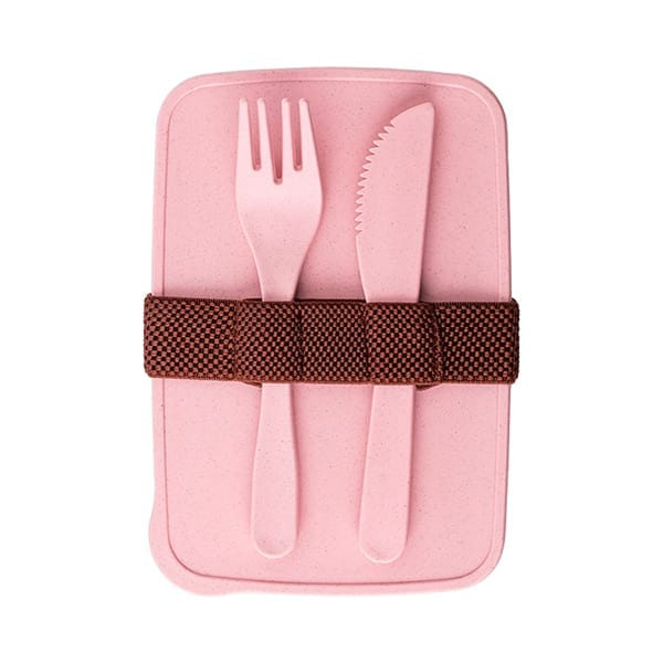 PP and Wheat straw lunchbox with fork and knife