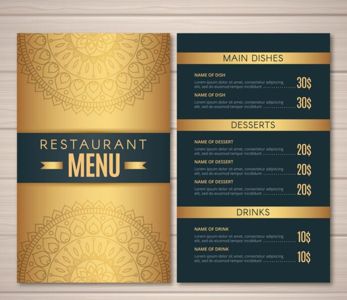 menus front and back printed