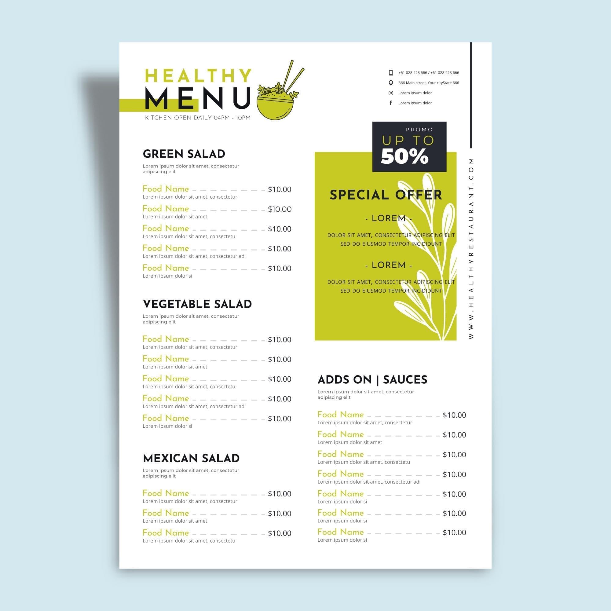 printed-menu
