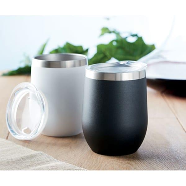 Powder coated double wall mug