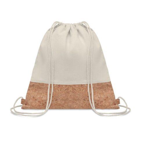 Cotton drawstring bag with cork detail