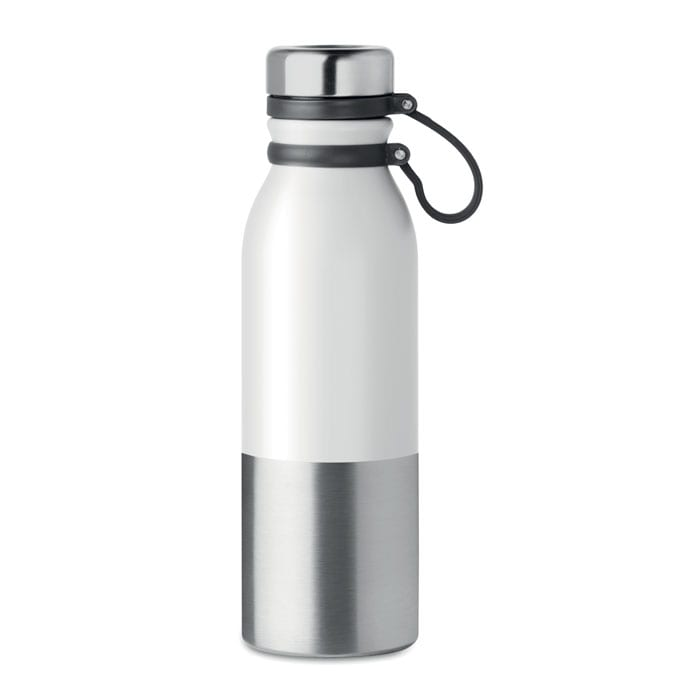 Double wall metal flask with silicone grip 600ml