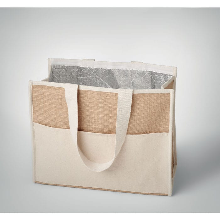 Jute shopping with canvas pocket