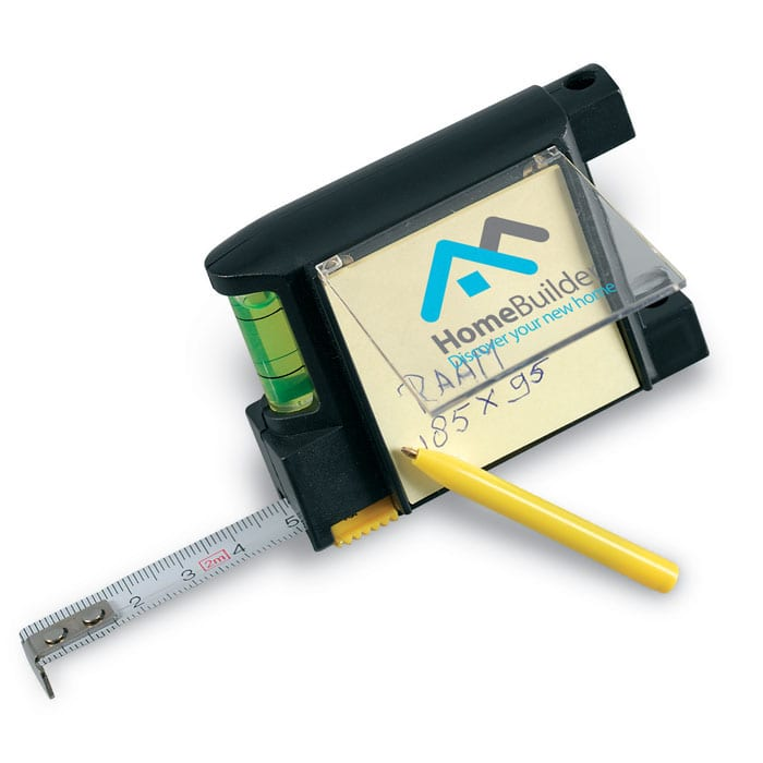 Measuring tape with memo pad and pen