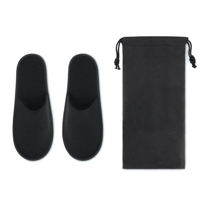 Pair of hotel slippers in a pouch