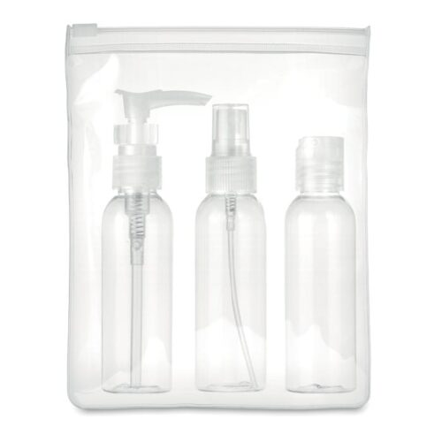 Plane travel pouch with 3 bottles