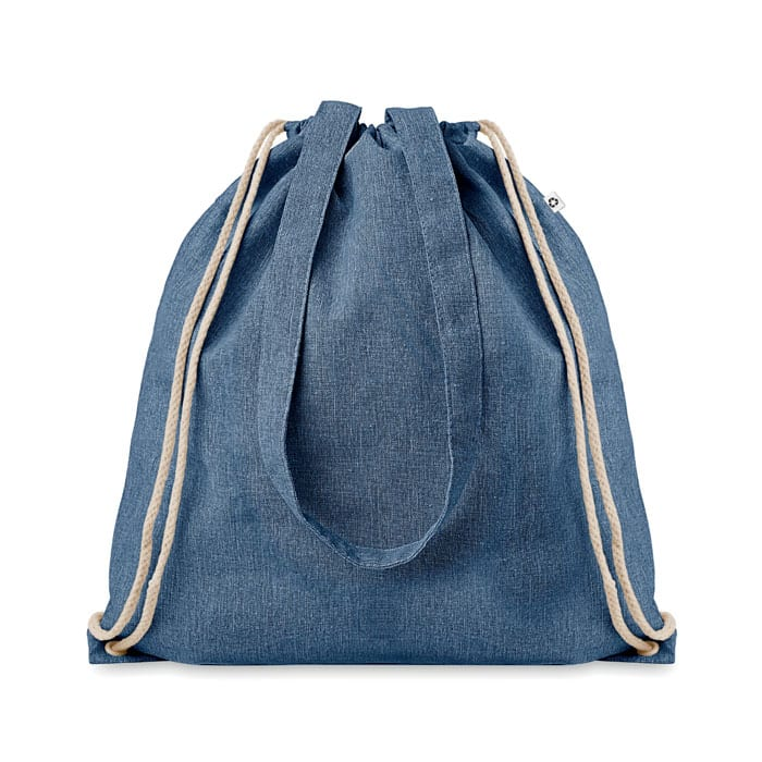 Two tone recycled shopping bag with drawstring