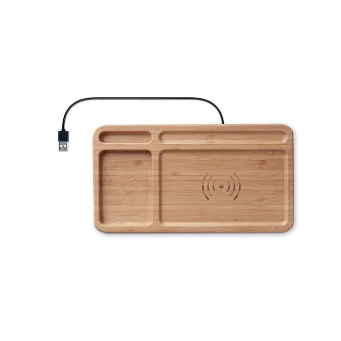 Bamboo storage box with wireless charger
