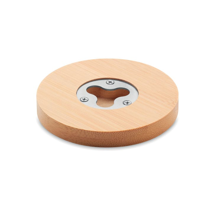 Coaster and bottle opener in Bamboo
