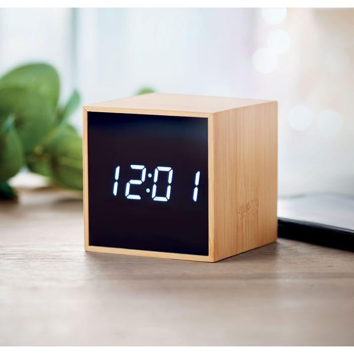 Cube alarm clock in bamboo casing
