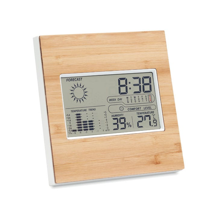 Digital weather station with bamboo front