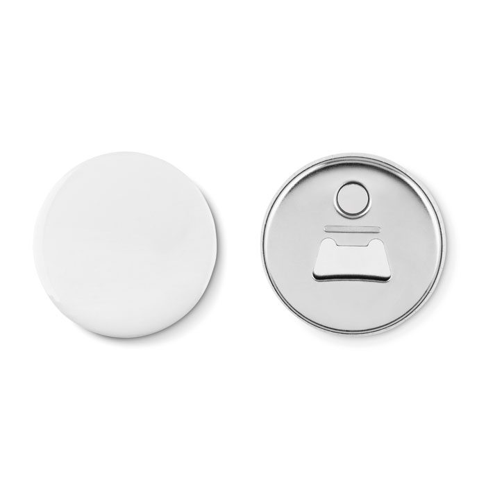 Fridge magnet pin button with bottle opener
