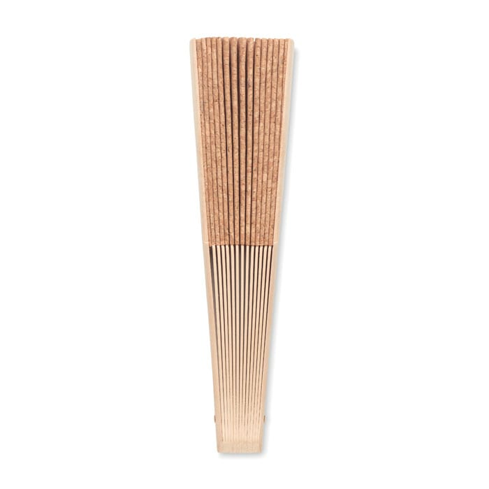 Manual hand fan in wood and cork