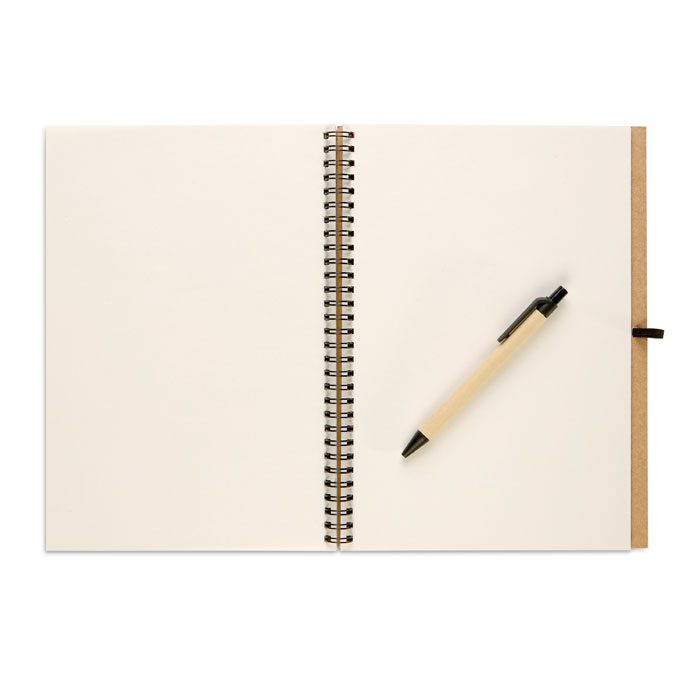 Recycled notebook and pen