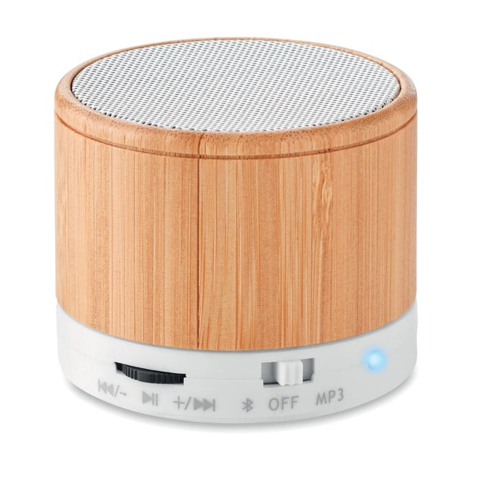 Round Bamboo Wireless Speaker
