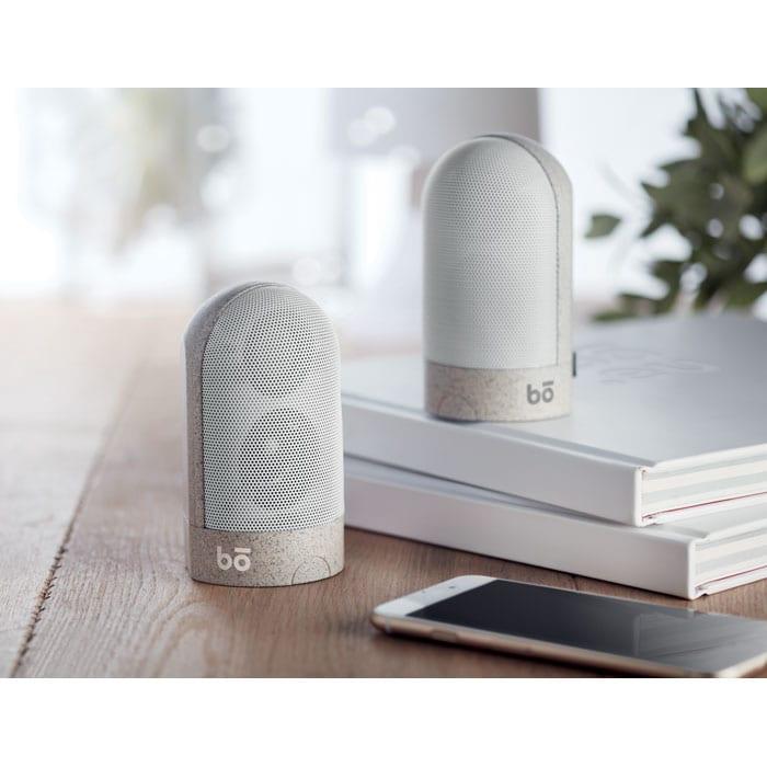 Twins wireless speaker in wheat straw/ABS